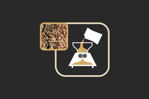Moagem Os grãos de malte são moídos de forma grosseira.